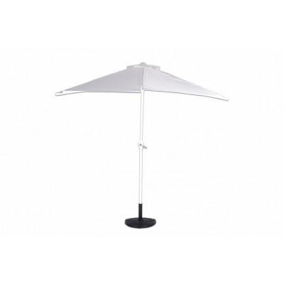 Polkruhový záhradný slnečník - biely - 2,7 m