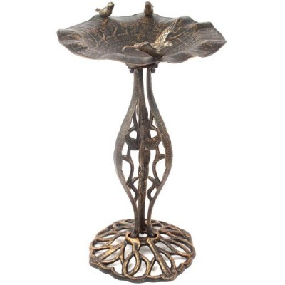 Vtáčia kúpeľ kŕmidlo z bronzu Garth
