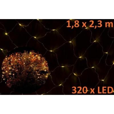 Vianočná svetelná sieť - 1,8 x 2,3 m, 320 diód, teple biela
