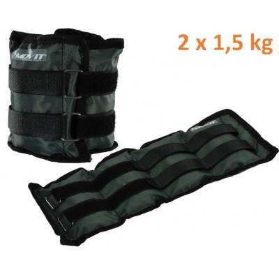 MOVIT záťažové manžety, 2 x 1,5 kg sivá