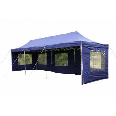 Záhradný skladací stan - modrý, 3 x 9 m