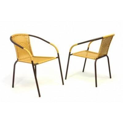 Sada 2 ks záhradné bistro stolička - stohovateľná, béžová