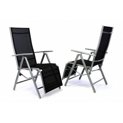 2 x záhradné polohovacie kreslo vrátane opierky na nohy – čierna