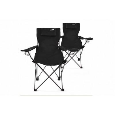 Kempingová sada 2 ks skladacích stoličiek DIVERO - čierna