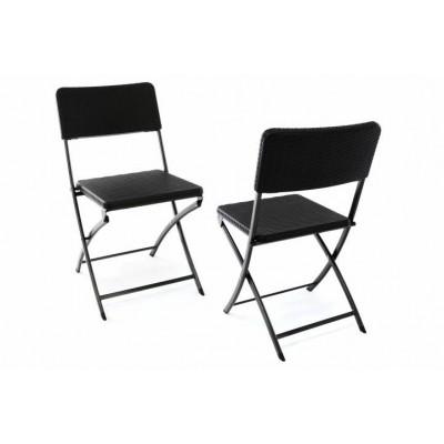Sada 2 skladacích polyratanových stoličiek 80 x 40 cm