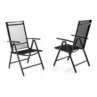 Sada dvoch záhradných polohovateľných stoličiek - čierna