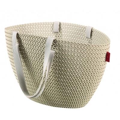 Taška nákupná, pikniková bag imitácia háčkovania - krémová