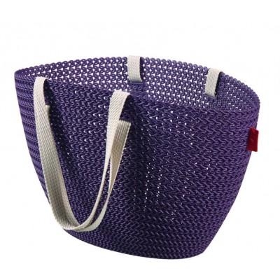 Taška nákupná, pikniková bag imitácia háčkovania - fialová