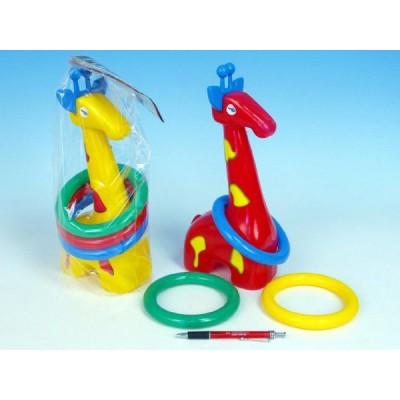 Žirafa plast 33cm s kroužky asst 3 barvy v sáčku 18m+