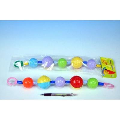 Řetěz/zábrana barevné koule plast 40cm asst v sáčku 0m+