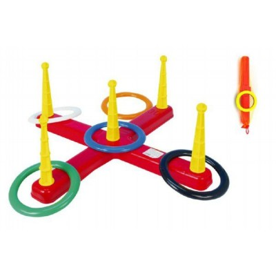 Hádzacia hra kríž s kruhmi 5 ks v sieťke