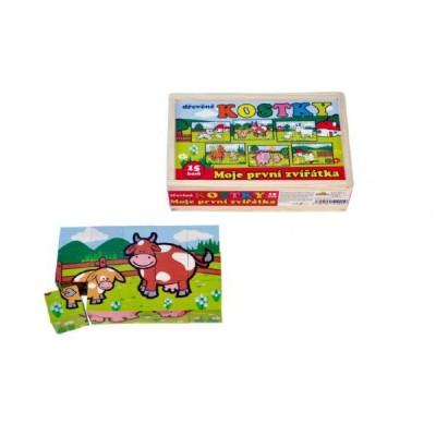 Kostky kubus Moje první zvířátka dřevo 15ks v dřevěné krabičce 20x13x5,2cm MPZ