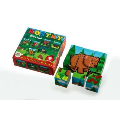 Kostky kubus dřevěné Moje první zvířátka lesní dřevo 9x9x3cm 9ks v krab.11x11x6cm od 12 měsíců MPZ