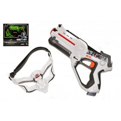 Territory laser game single set (1 pistole, 1 maska) plast na baterie asst 2 barvy v krabici 40x38cm