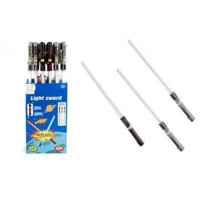Meč svítící plast 72cm na baterie měnící zvuk dle pohybu se světlem asst-3 barvy