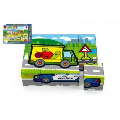 Kostky kubus dřevěné Moje první auta 12ks v krabičce 17x12,5x4cm MPZ