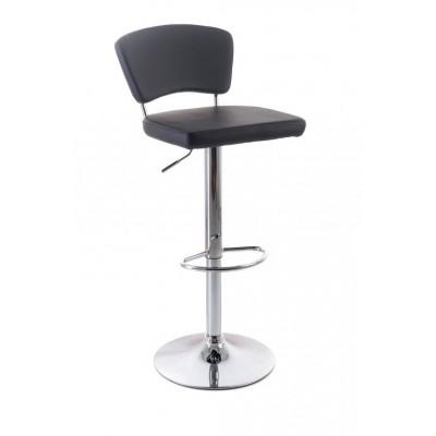 Barová stolička G21 redan black, koženková s operadlom