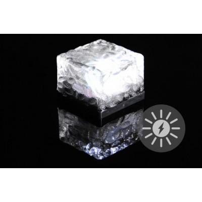 Vonkajšie solárne osvetlenie - sklenená kocka - biela 7 x 7 x 5 cm