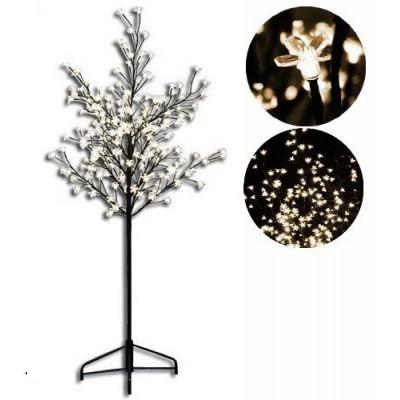 Dekoratívny LED strom s kvetmi - 1,5 m, teple biely