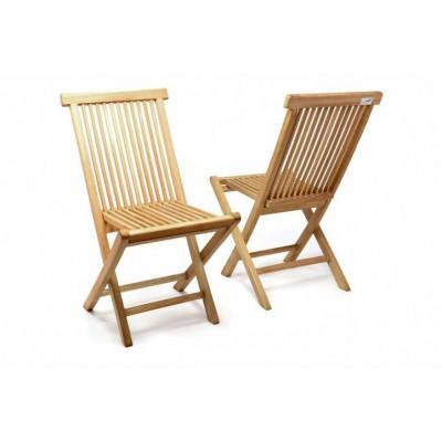 DIVERO skladacia stolička z teakového dreva, 2 kusy