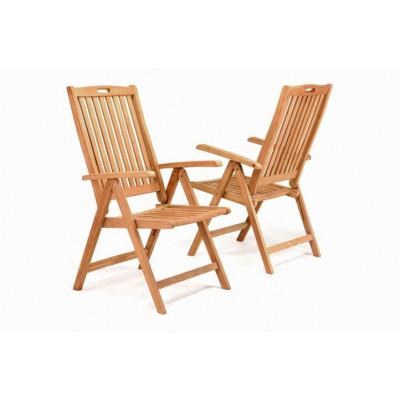 DIVERO skladacie stoličky z teakového dreva, 2 kusy