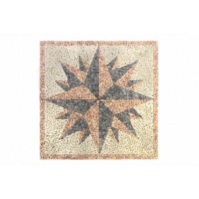 DIVERO mramorová mozaika kompas - 120 x 120 cm