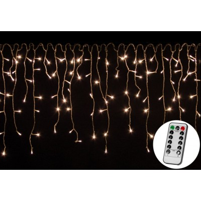 Vianočný svetelný dážď 600 LED teplá biela - 15 m+ovládač
