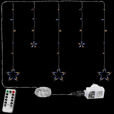 Vianočná reťaz - hviezdy - 61 LED teple/studeno biela