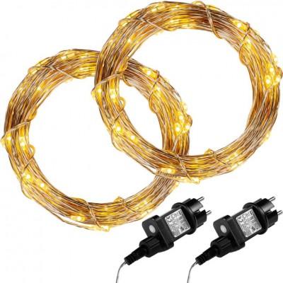 Sada 2 kusov svetelných drôtov 100 LED - teple biela