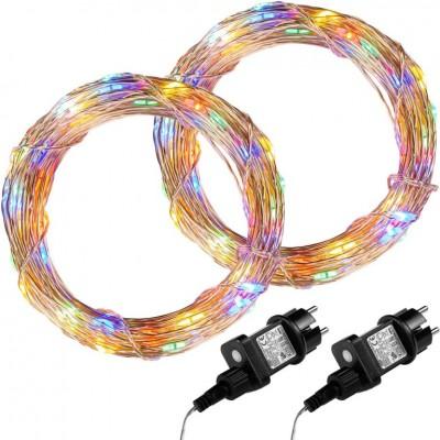 Sada 2 kusov svetelných drôtov 100 LED - farebná