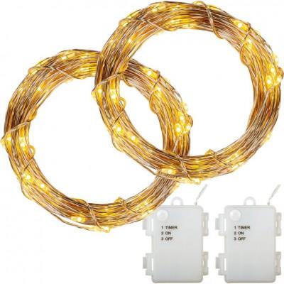 Sada 2 kusov svetelných drôtov - 200 LED, teplá biela