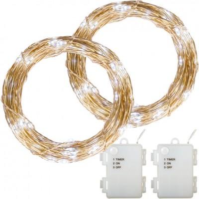 Sada 2 kusov svetelných drôtov - 200 LED, studená biela