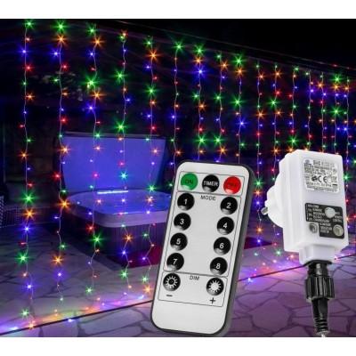 Vianočný záves - 6 x 3 m, 600 LED, farebný
