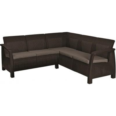 Rohová sofa CORFU RELAX - hnedá + sivohnedé podušky