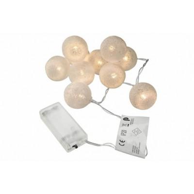LED svetelná dekorácia - háčkovaná guľa - 10 LED teplá biela