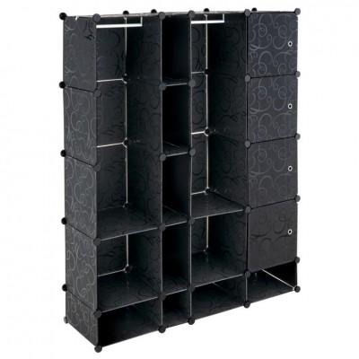 Úsporný zásuvný plastový regál - 161 x 127 x 37 cm, čierny