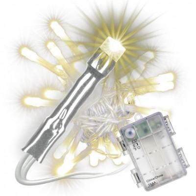 Sada svetelných reťazí s časovačom - 20 LED, teplá biela