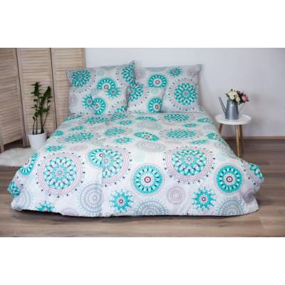 Bavlnené posteľné obliečky 3-dielne Dita - Mandala tyrkys