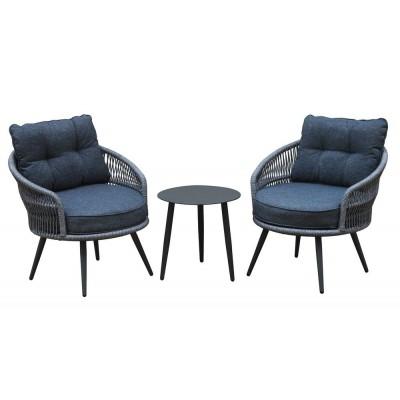 Hliníkový nábytok, vr. podušiek - antracit