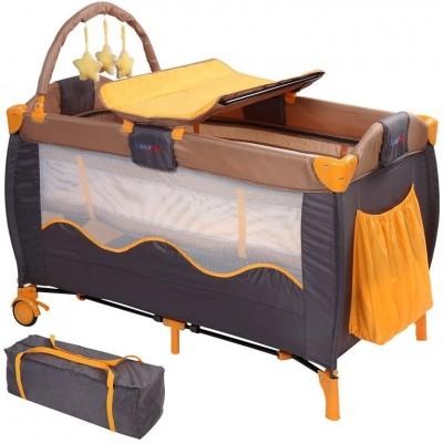 Detská postieľka, cestovná, oranžová/sivá