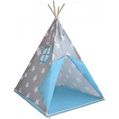 Detský stan teepee, sivo/modrý, bez príslušenstva
