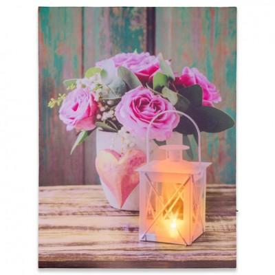 Nástenná maľba ruža a lampášik, 1 LED, 30 x 40 cm