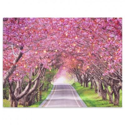 Nástenná maľba rozkvitnutá alej stromov, 40 LED, 30 x 40 cm