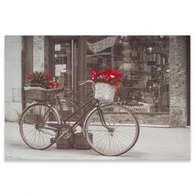 Nástenná maľba bicykel s vianočnou hviezdou, 40 x 60 cm