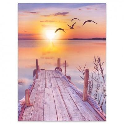 Nástenná maľba západ slnka pri jazere, 1 LED, 30 x 40 cm