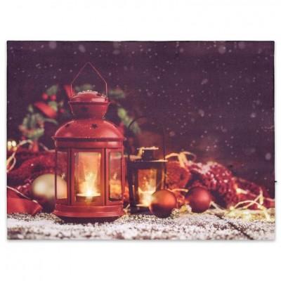 Nástenná maľba červené lampáše, 2 LED, 30 x 40 cm