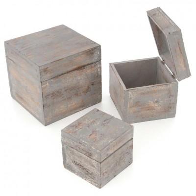 Drevené krabičky s vekom, sada 3 kusov, tmavo sivá