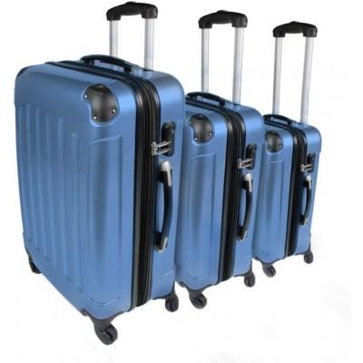 Sada cestovných kufrov 3-dielna, tvrdý plast, ľadovo modrá