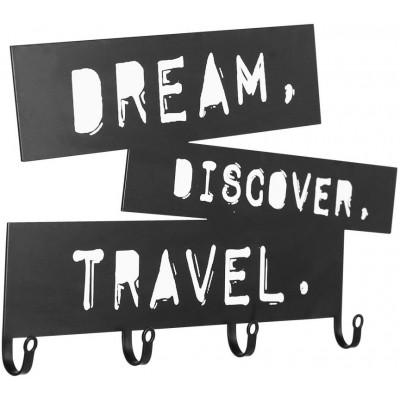 Nástenný vešiak so štyrmi háčikmi, Dream, Discover, Travel