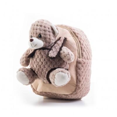 Batoh s plyšovým medvedíkom, béžový
